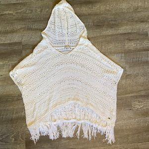 American Eagle Cream Crochet Poncho With Fringe M